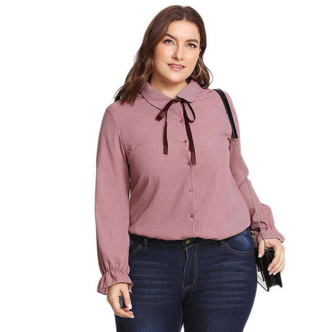 Ribbon Tie Neck Pinstriped Long Sleeve Longline Pink Top Blouse