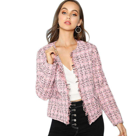 Multicolour Frayed Edge Plaid Tweed Blazer Coat