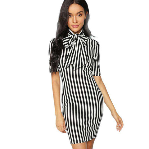Black And White Bow Tie Neck Striped Natural Waist Pencil Dress