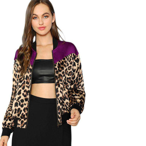 Multicolour Contrast Yoke Zip Up Leopard Stand Collar Jacket