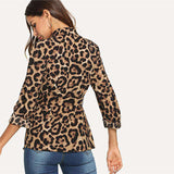 Multicolour Collar Belted Leopard Print Outwear Tops