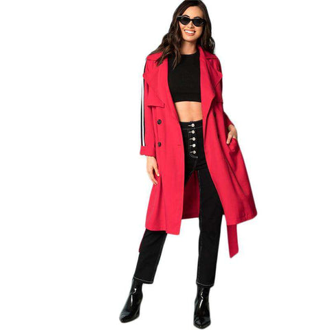 Red Flap Front Belted Trench Long Double Breasted Trench Coat