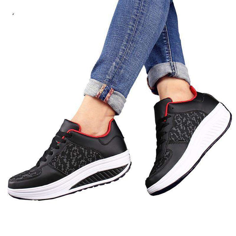 Comfy Leather  Thick Sole Sneakers Shoes