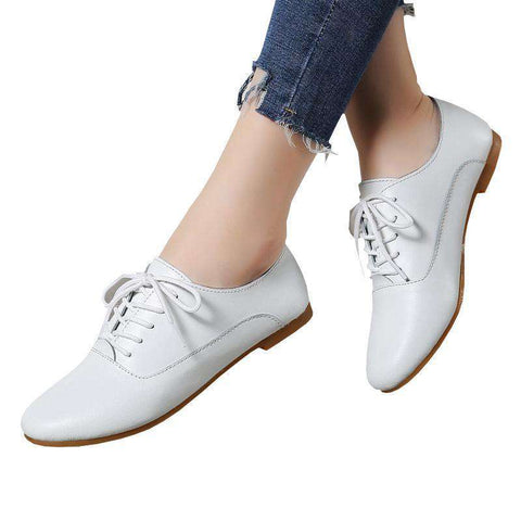 White Lace Up Leather Casual Flats Shoe
