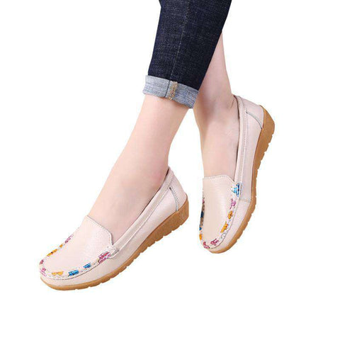Floral Print Soft Leather Loafers Slip On Flat Shoes