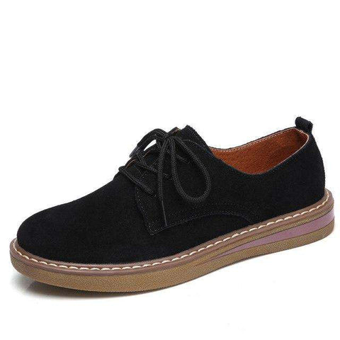 Genuine Suede Leather Lace Up Flats Shoes