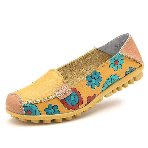 Printed Leather Breathable Patchwork Flowers Slip On Shoes