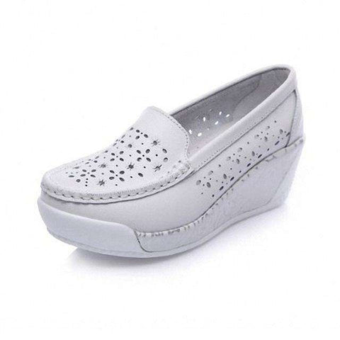 White Handmade Leather Slip-On Flat Loafers Hollow Platform Shoes