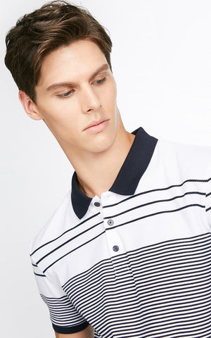 Jack&Jones Casual Stripes Lapel Short Sleeves Polo Tee
