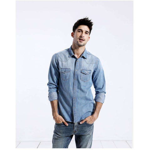 Single Breasted Long Sleeve Square Collar Slim Fit Denim Shirt