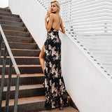 Lace Up Halter Sequin Backless High Split Long Maxi Dress