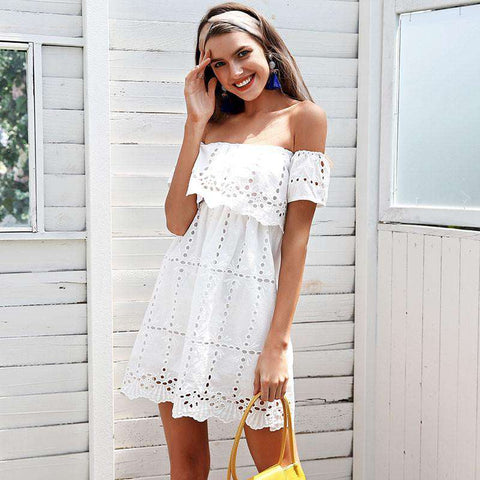 Off Shoulder White Lace Hollow out Loose Short Dress