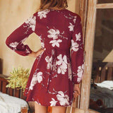Short Wrap Retro Lantern Long Sleeve Deep V Neck Floral Dress