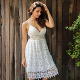 Deep V Padded Backless White Lace Lined Hollow Out Dress