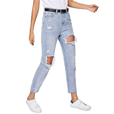 Cut Out Ripped Blue Zipper Mid Waist Denim Jeans