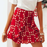 Red Polka Dot Chiffon High Waist Ruffle Back Zipper Mini Skirt
