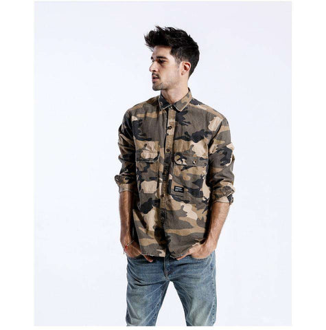 Single Breasted Long Sleeved 100% Cotton Camouflage Loose Shirt