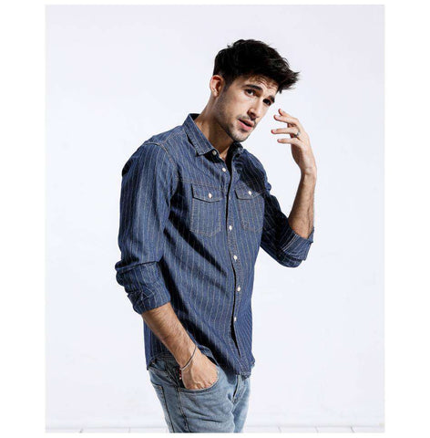 Striped 100% Pure Cotton Long Sleeve Slim Fit Shirt