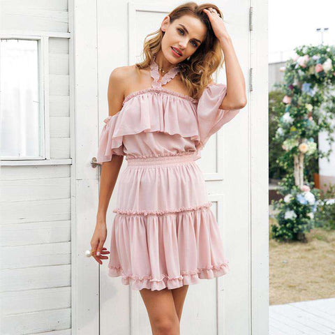 Halter Off Shoulder Ruffle Backless High Waist Chiffon Pink Short Dress