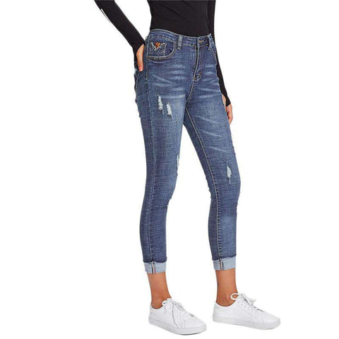 Roll Up Hem Ripped Button Fly Mid Waist Capris Skinny Blue Denim Jeans