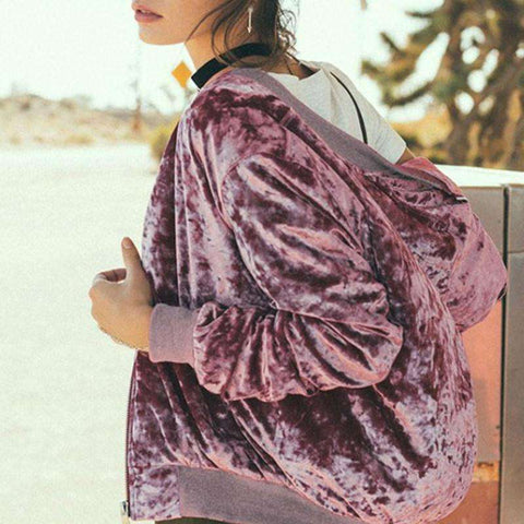 Velvet Pink Winter Bomber Jacket