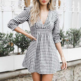 Short Vintage White Black Plaid V Neck Street Fashion Dress