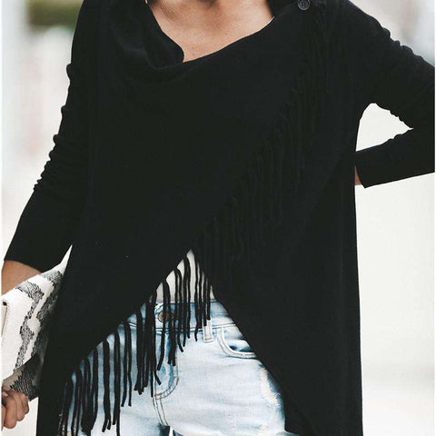 Knitted Loose off Shoulder Long Sleeve Tassel Cloak Poncho Pullover