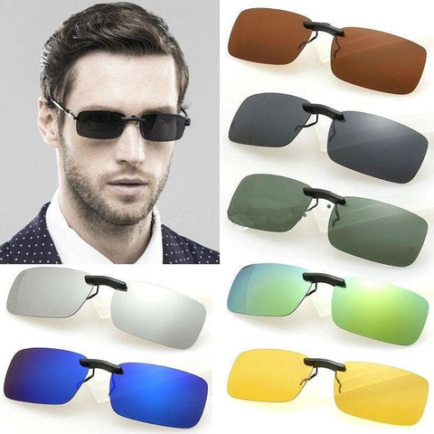 Polarized Day Night Vision Flip-up Clip-on Lens Driving Sunglasses