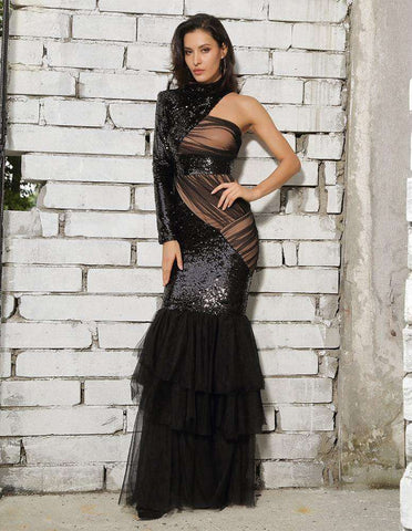 Black Cut Out Mesh Stitching Fishtail Shape Sequins Long Dress Gown