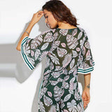 Bell Flare Sleeve Stripe Loose Print Floral Green Transparent Blouse Tops