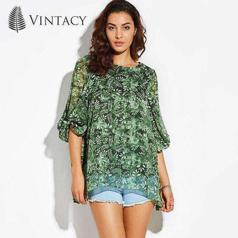 Green Back Hollow Out Lace Up Floral Transparent Lantern Sleeve Chiffon Blouse Top