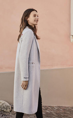 Vero Moda Embroidery Letters Straight Long Jacket Trench Coat