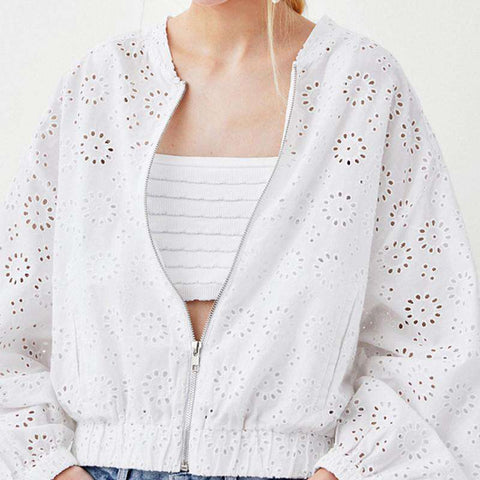 Solid White Thin Hollow Out Embroidery Lantern Full Sleeve Zipper Outerwear Jacket Coat