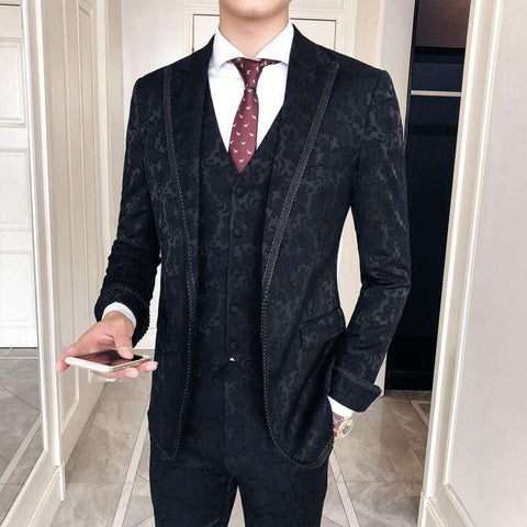 Single Breasted Baroque Print Slim Fit Suit
