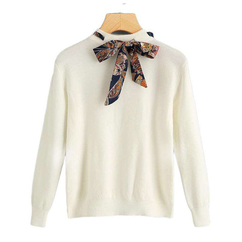 Preppy Knotted Decoration Tie Neck Stand Collar Pullovers Sweaters