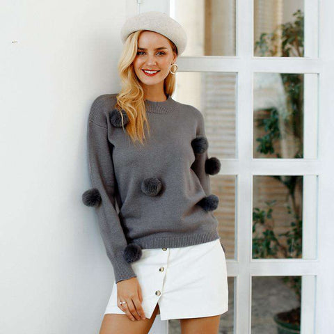O neck Hairball Loose Knitted Long Sleeve Sweater Pullover