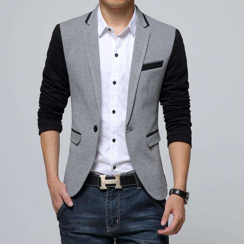 Slim Fit Single Button Patchwork Blazer