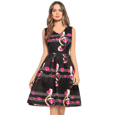 Musical Note Print V Neck Sleeveless Rockabilly Cocktail Swing Party Dress