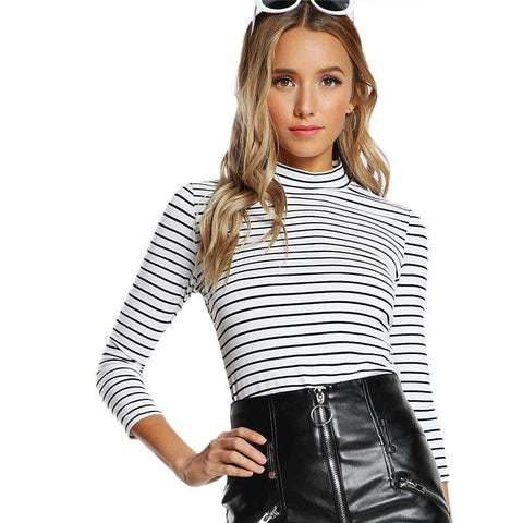 Black and White Striped Fitted T shirt Top