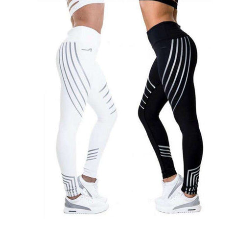 Slim High Waist Elasticity Printed Reflective Legging