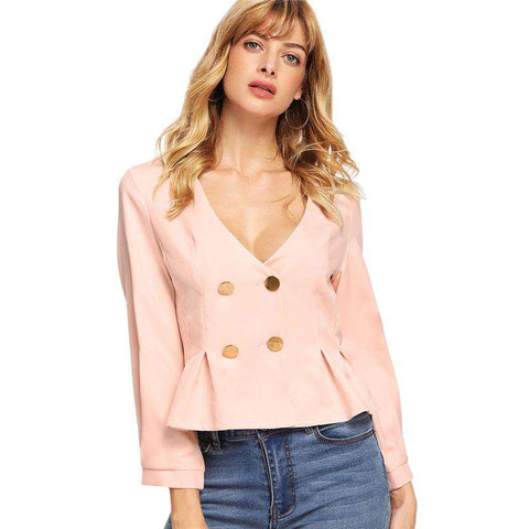 Pink V neck Double Button Pleated Ruffle Coat Jacket