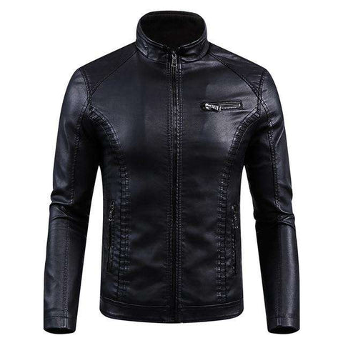 Winter Fleece Slim Fit Thermal Thick PU Motorcycle Leather Jackets