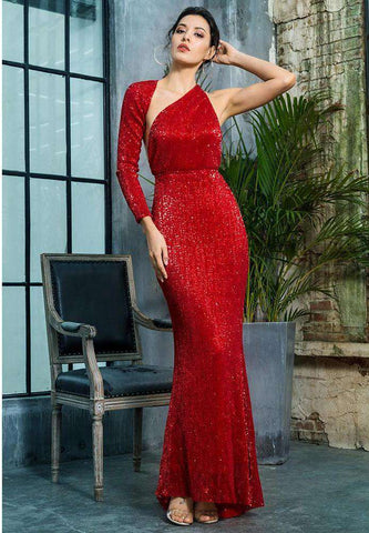 Open Back Separate Sleeve Elastic Sequins Long Dress Gown