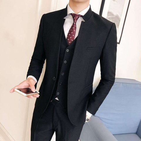 Single Breasted Mandarin Stand Collar Slim Fit Suit