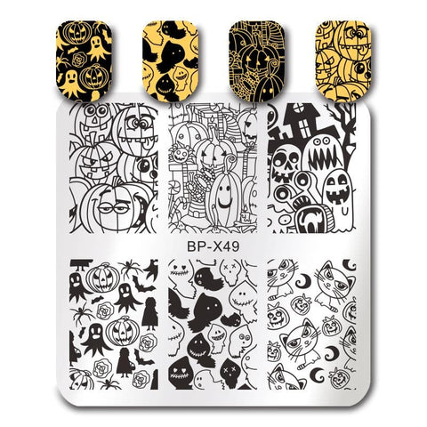 Halloween Pumpkin Ghost Cat Image Plate Manicure Stencil Nail Art Decorations Template