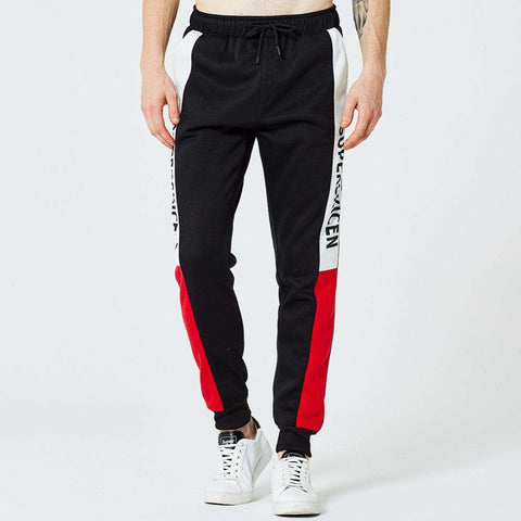 Side Stripe Letter Printing Contrast Colour Jogger Elastic Waist Slim Fitted  SweatPants