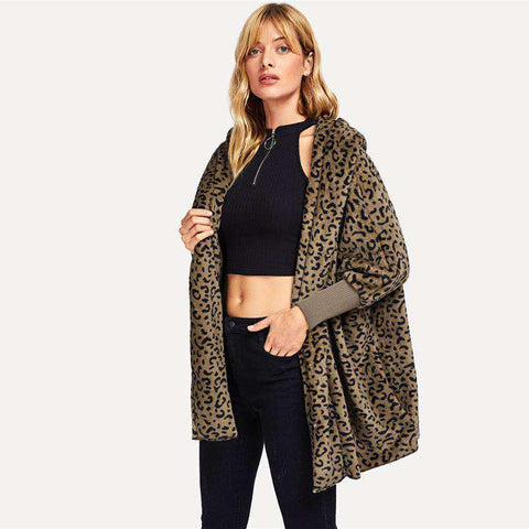 Leopard Print Hooded Open Front Collarless Long Sleeve Coat