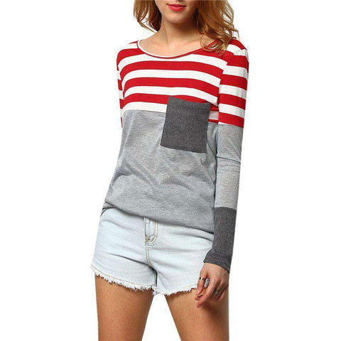 Grey Long Sleeve Round Neck Striped Pocket T-Shirt