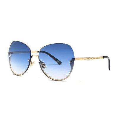 Semi-Rimless Designer Metal Frame UV400 Sunglasses