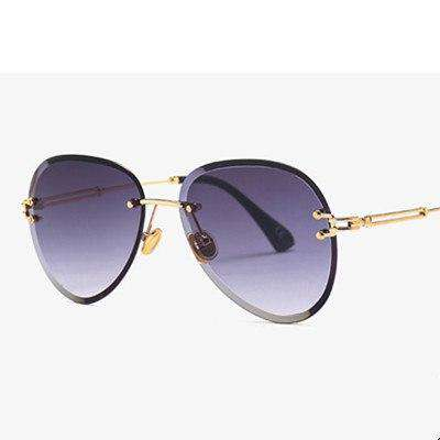 Rimless Pilot Retro Big Frame UV400 Designer Luxury Sunglasses